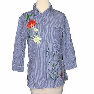 Walter Baker hi-low button down embroidered blouse